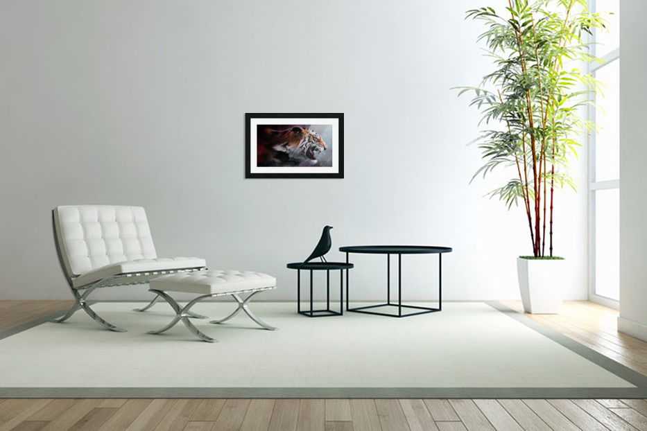 Lunging Tiger in Custom Picture Frame