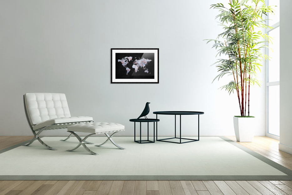 Artistic World Map XII in Custom Picture Frame