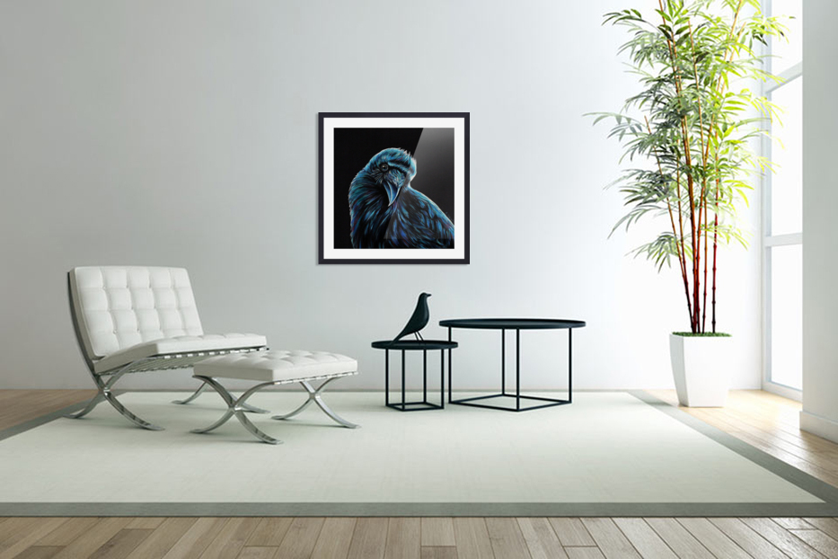 Curious Raven in Custom Picture Frame