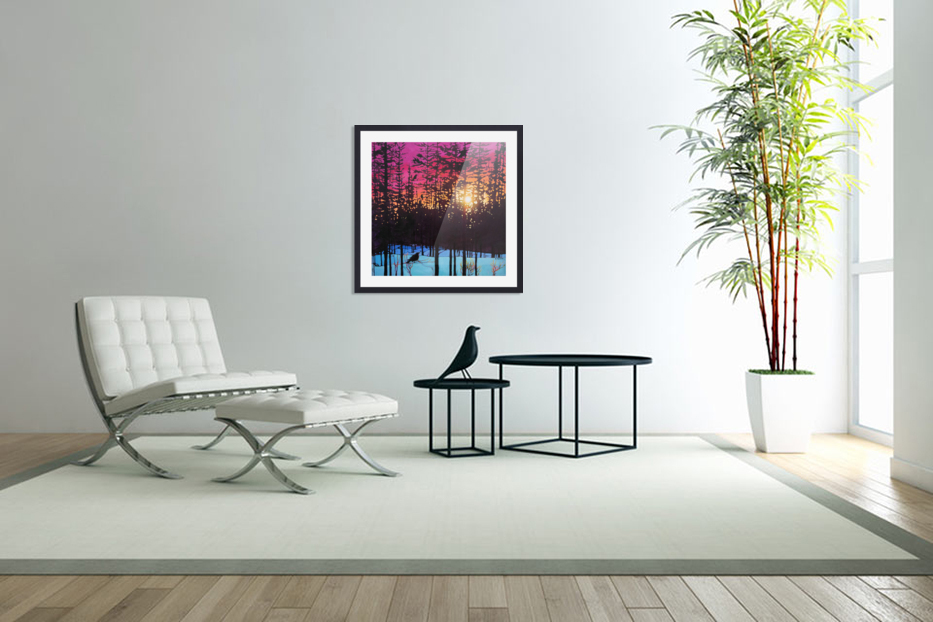 Crows at Sunset in Custom Picture Frame