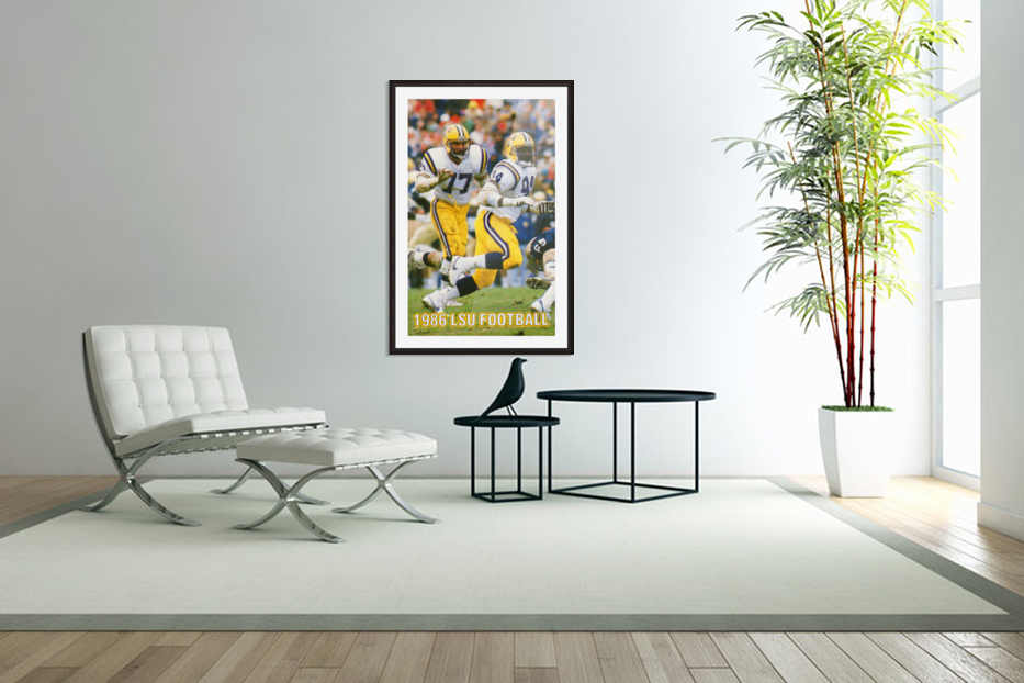 1986 LSU Retro Football Poster  in Custom Picture Frame