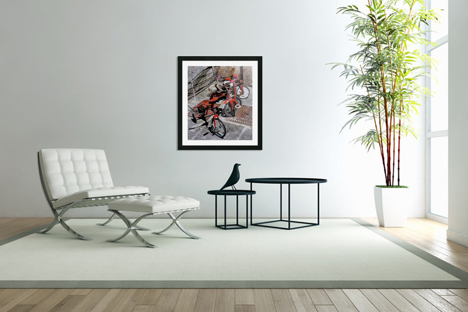 Italian Toy Antique Tricycles in Custom Picture Frame