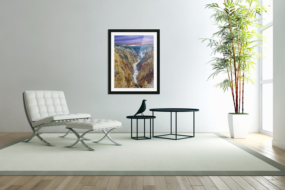 Grand Canyon of Yellowstone - The Falls and River in the Fading Light of Day  Yellowstone National Park at Sunset in Custom Picture Frame