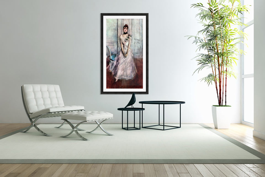 White pastel picture by Giovanni Boldini in Custom Picture Frame