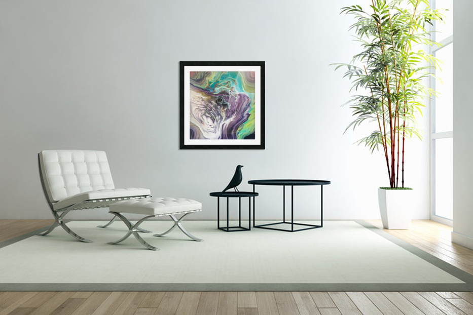 Peacock Marble Abstract in Custom Picture Frame