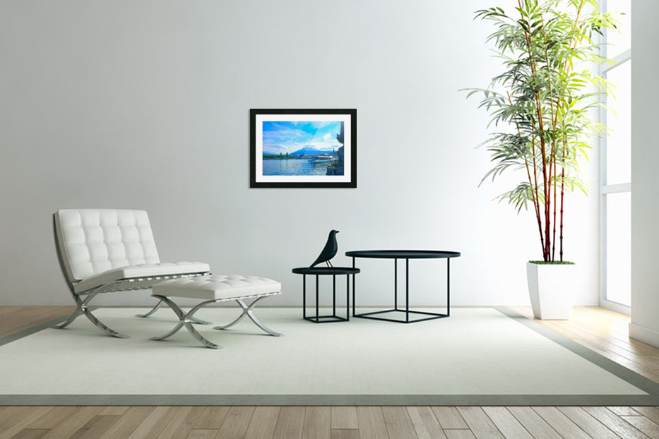 Mount Pilatus on the Shores of Lake Lucerne   Central Swiss Alps in Custom Picture Frame