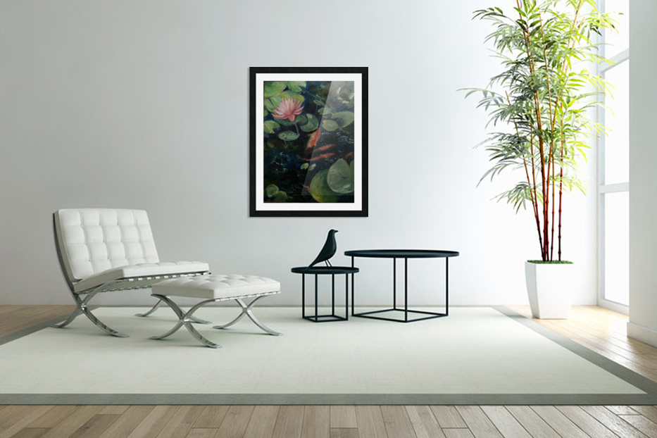 Koi with water lily  in Custom Picture Frame
