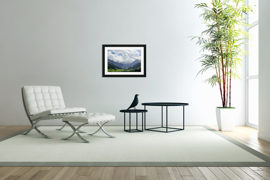 Beautiful Day in the Valley and Mountains of Adelboden Switzerland in Custom Picture Frame