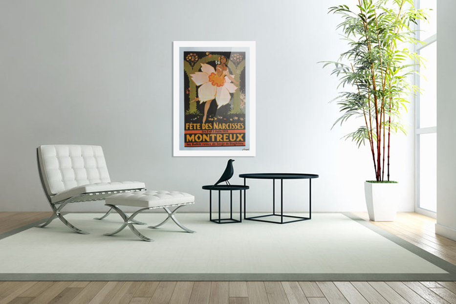 Vintage Dance Poster Fete Des Narcisses in Custom Picture Frame
