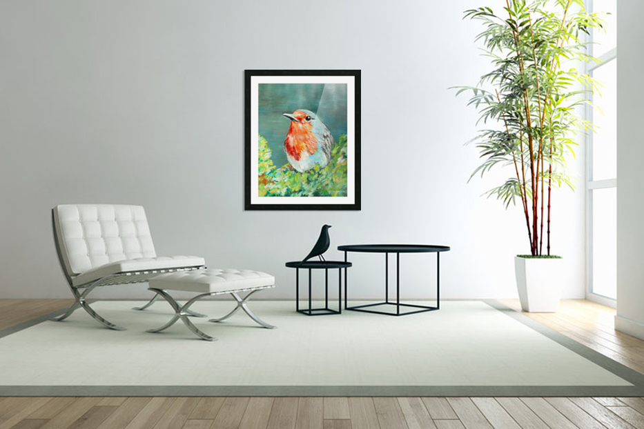 Bird Painting Robin in Custom Picture Frame