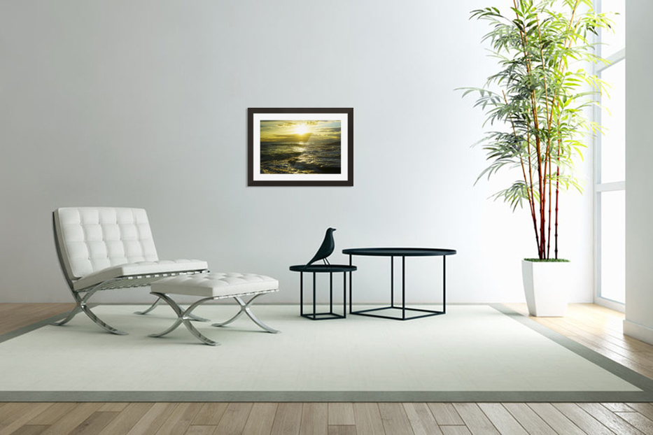 Sunlight and Shadows Play in the Waters at the Bay in Custom Picture Frame
