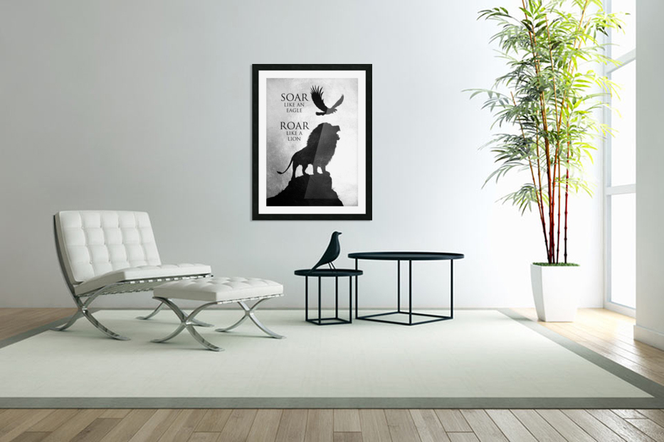lion and eagle Motivational Wall Art in Custom Picture Frame