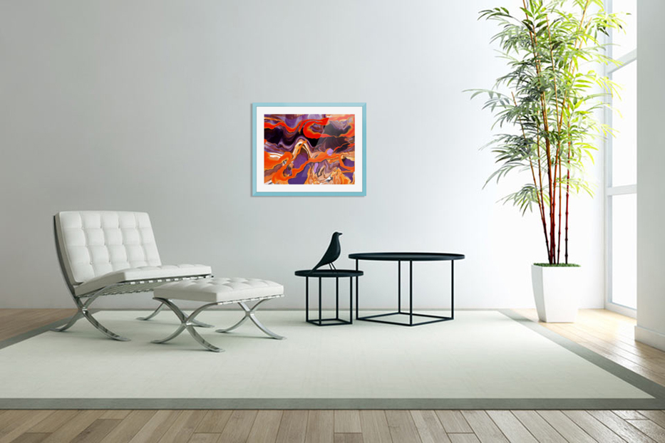 Flaming Paint Pour in Custom Picture Frame