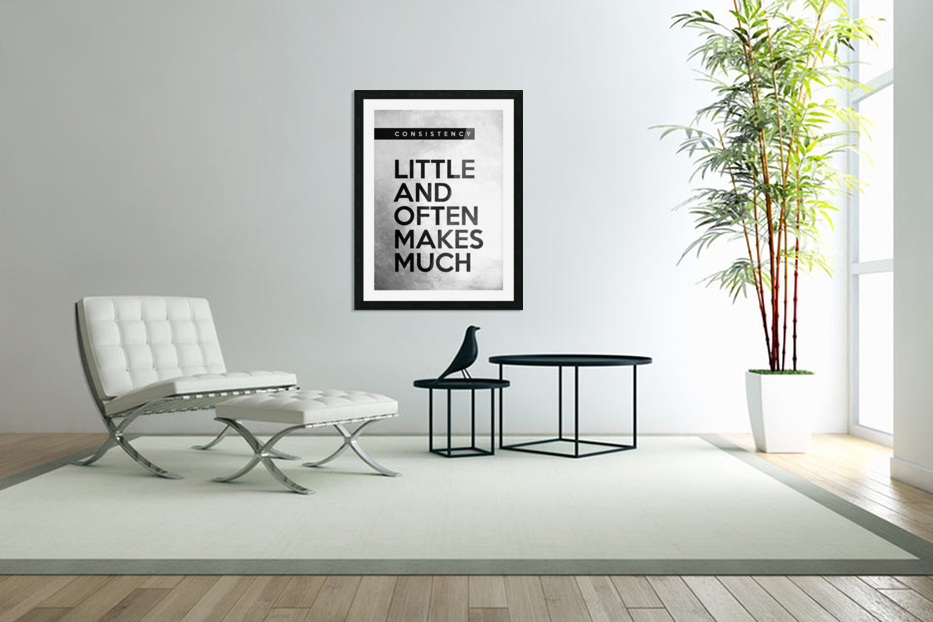 little and often Motivational Wall Art in Custom Picture Frame