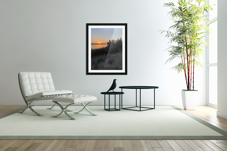 Sunset Over Lake in Custom Picture Frame