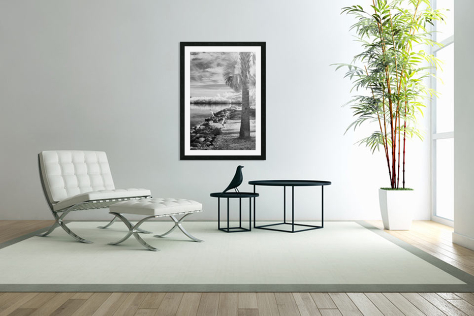 Wabasso Causeway with great white heron in Custom Picture Frame