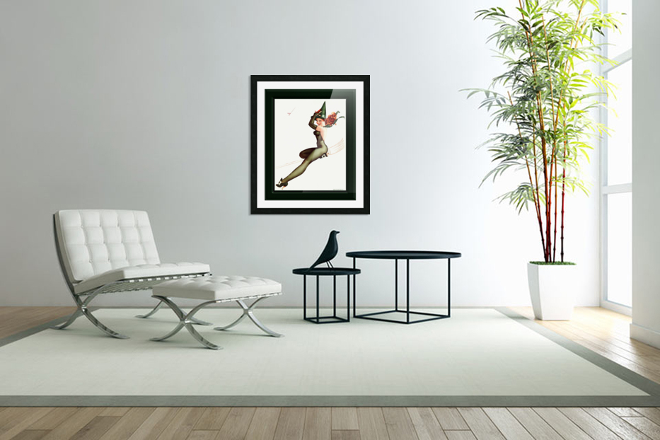 Witch On A Broomstick by George Brown Petty Vintage Xzendor7 Old Masters Artwork Reproductions in Custom Picture Frame