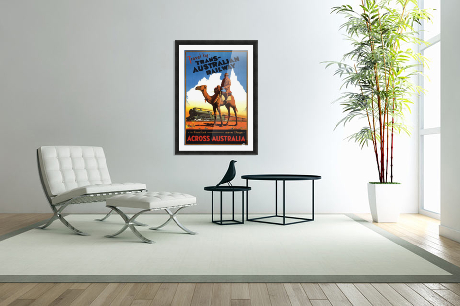 Trans Australian Railway travel poster in Custom Picture Frame