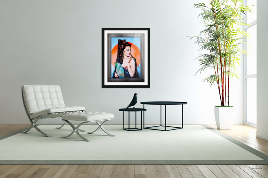 Gene Tierney as Lola Montez by Henry Clive Vintage Xzendor7 Old Masters Art Deco Reproductions in Custom Picture Frame