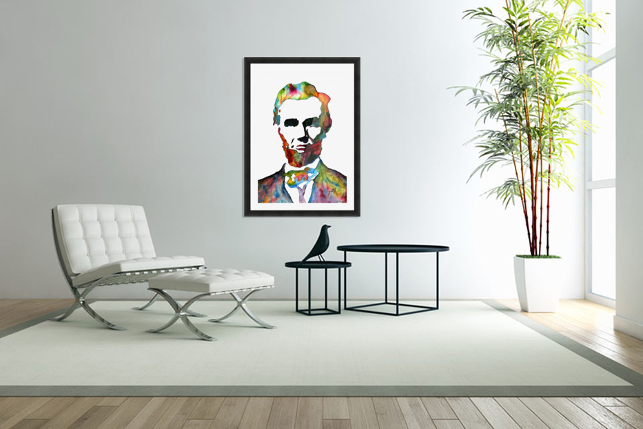 Abraham Lincoln original watercolor  in Custom Picture Frame