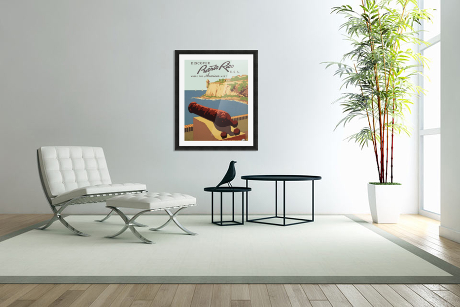 Discover Puerto Rico USA travel poster in Custom Picture Frame