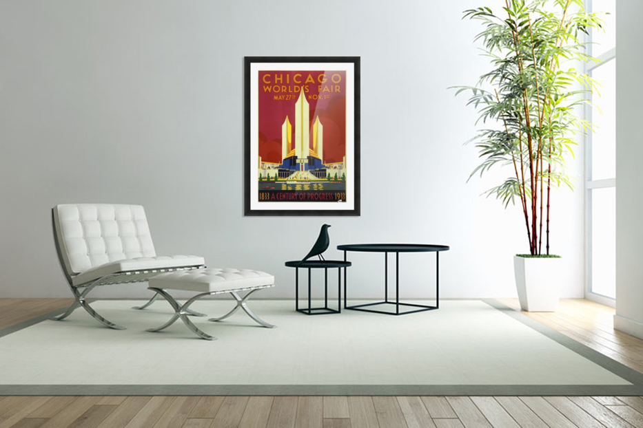 A vintage travel poster promoting the 1933 World Fair in Chicago in Custom Picture Frame