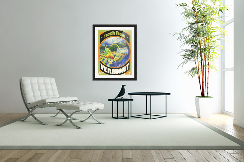 Faux Vintage Fresh from Vermont Travel Poster in Custom Picture Frame