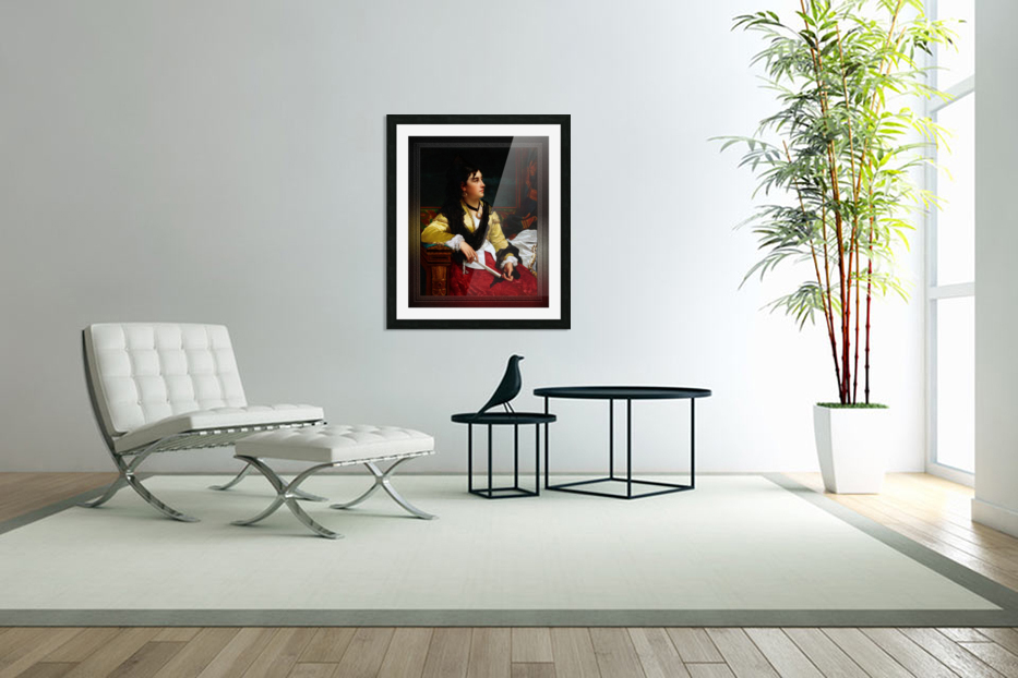 Portrait Of A Noblewoman Holding A Fan by Jan Frederik Pieter Portielje Classical Fine Art Xzendor7 Old Masters Reproductions in Custom Picture Frame