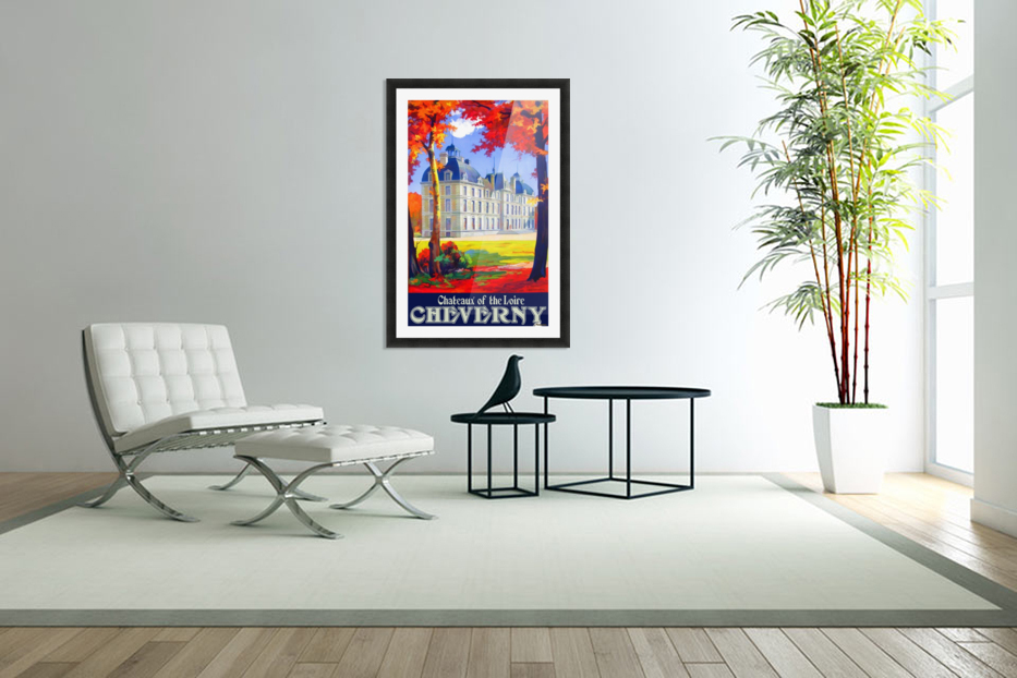 Chateaux of the Loire Cheverny travel poster in Custom Picture Frame