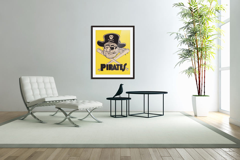 Vintage Sixties Pittsburgh Pirates Art in Custom Picture Frame