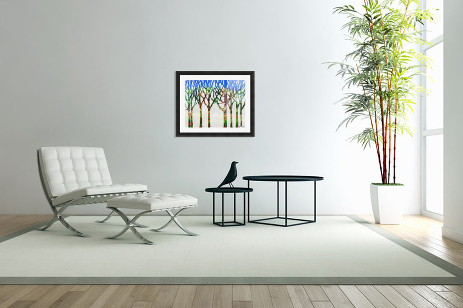 Watercolor Forest Silhouette Summer in Custom Picture Frame