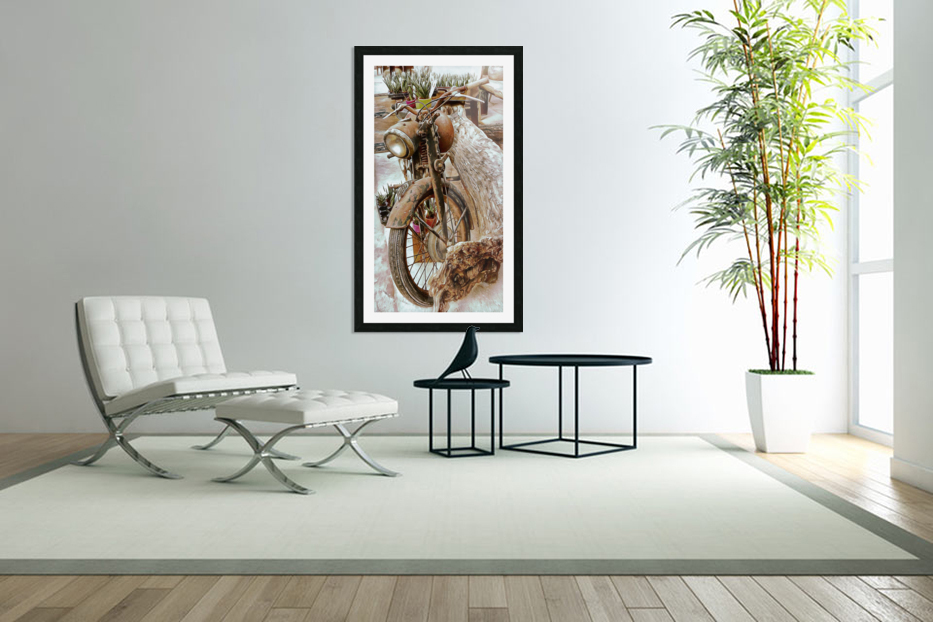 Old Rusty Motorbike Against Tree Stump in Custom Picture Frame