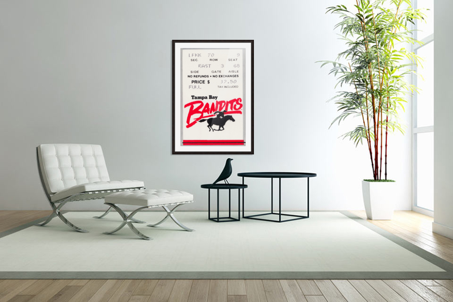1985 Tampa Bay Bandits Ticket Stub Art in Custom Picture Frame