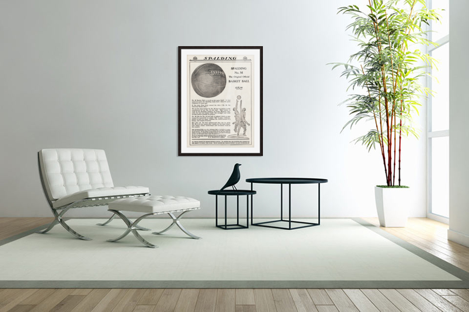 1921 Spalding Basketball Advertisement Poster in Custom Picture Frame