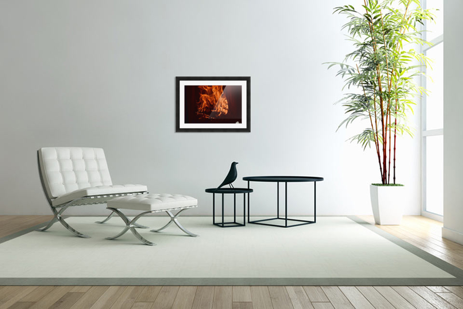 Fierce fire flames in the fireplace in Custom Picture Frame
