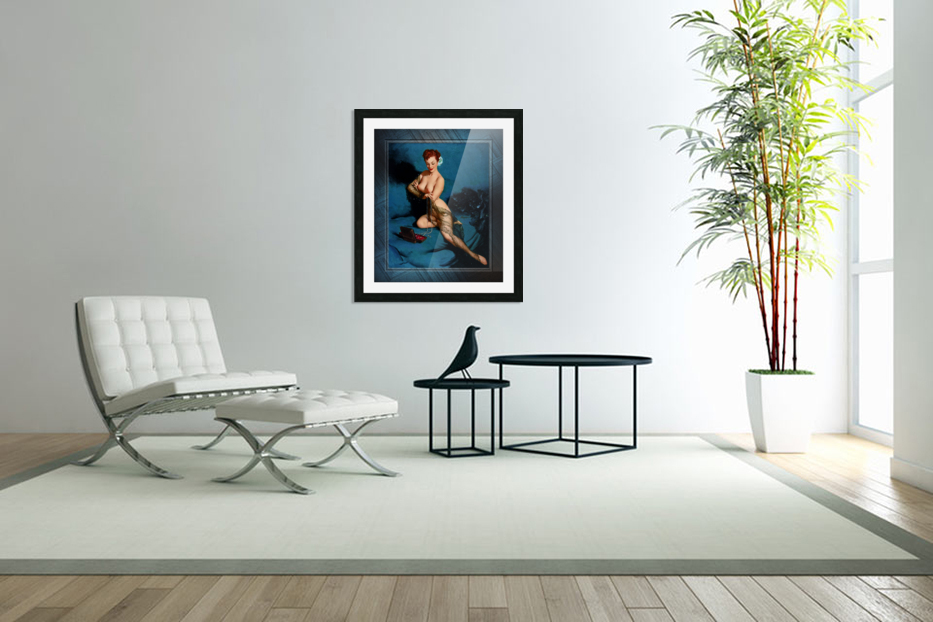 Fascination by American Painter Gil Elvgren Vintage Illustrations Xzendor7 Old Masters Reproductions in Custom Picture Frame