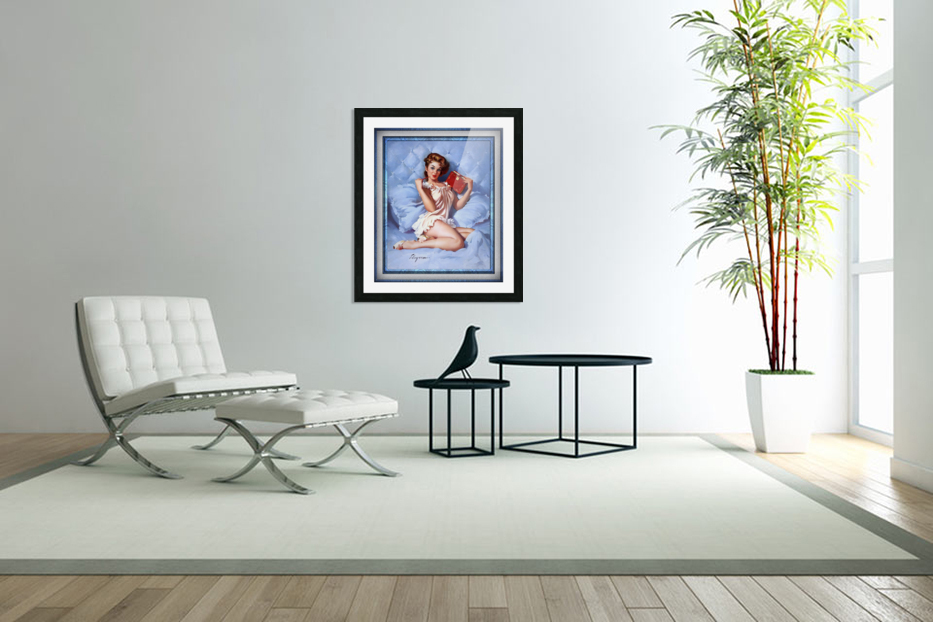 Thinking Of You by Gil Elvgren Vintage Illustrations Xzendor7 Old Masters Reproductions in Custom Picture Frame