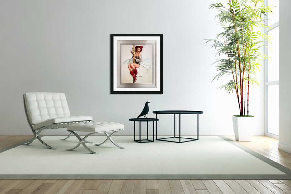 Fire Belle Is Always Ready by Gil Elvgren Vintage Pinup Illustration Xzendor7 Old Masters Reproductions in Custom Picture Frame