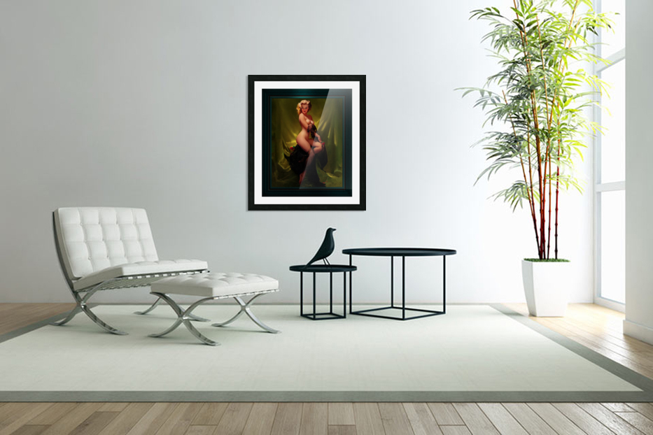 Golden Beauty by Gil Elvgren Vintage Pinup Illustration Xzendor7 Old Masters Reproductions in Custom Picture Frame