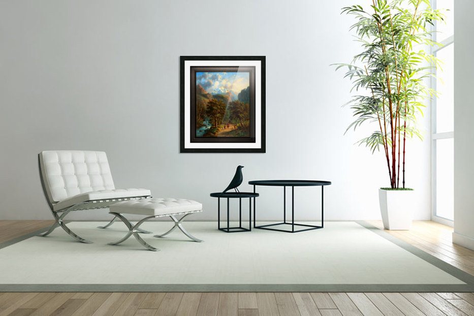 Landscape In The High Mountains by Alexander Joseph Daiwaille Classical Fine Art Xzendor7 Old Masters Reproductions in Custom Picture Frame