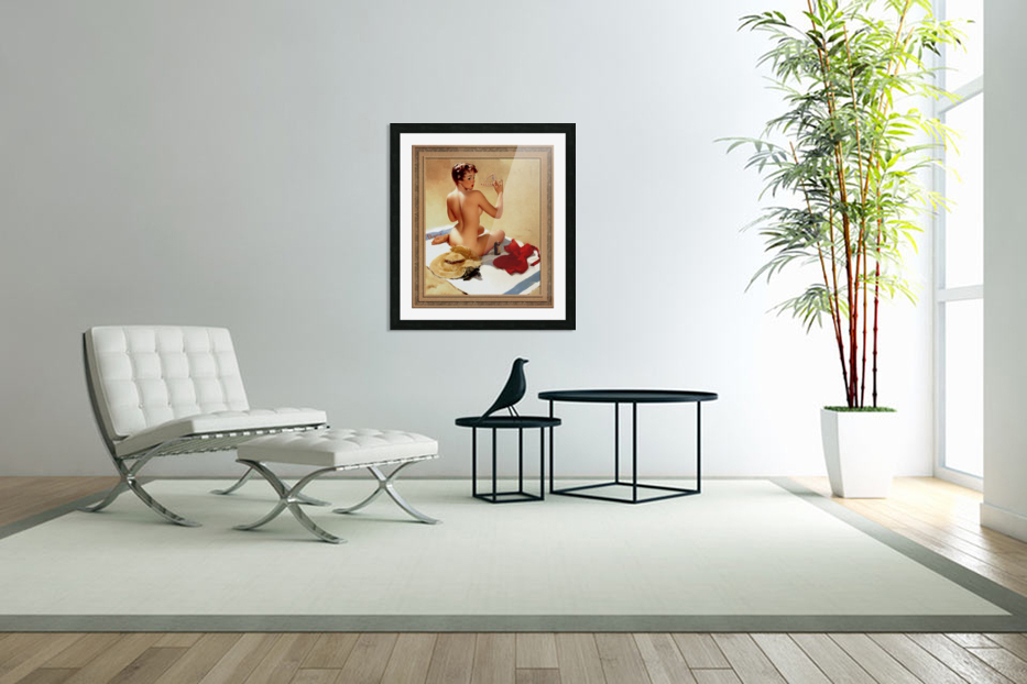 Shell Game c1959 by Gil Elvgren Vintage Pinup Illustration Xzendor7 Old Masters Reproductions in Custom Picture Frame