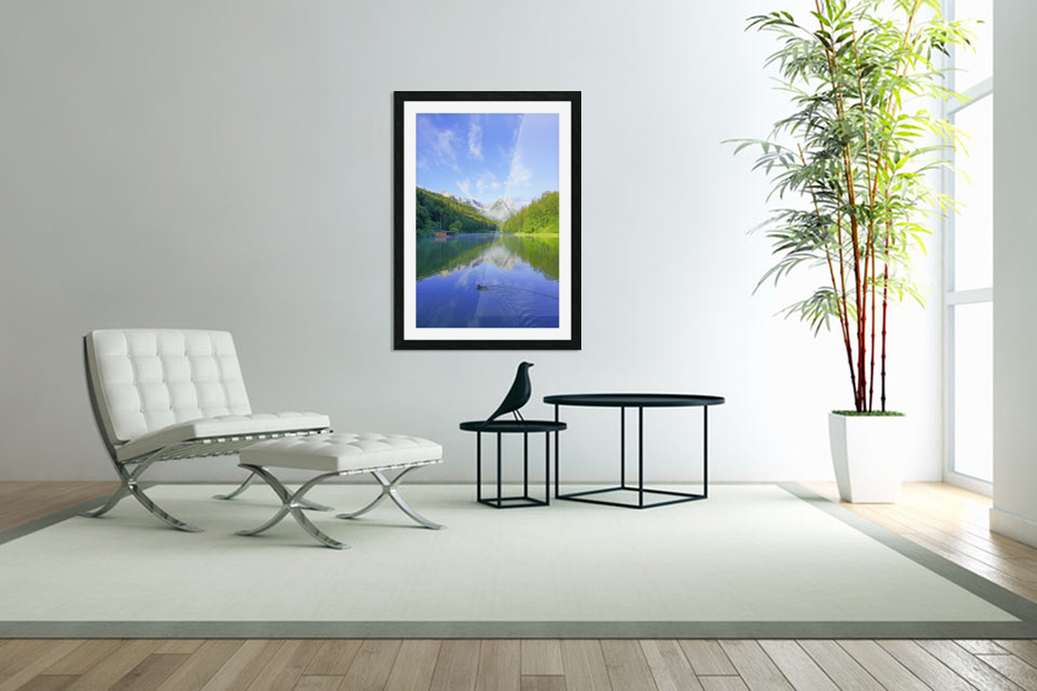 Blue Skies over the Riessersee in the Bavarian Alps near Garmisch Germany in Custom Picture Frame