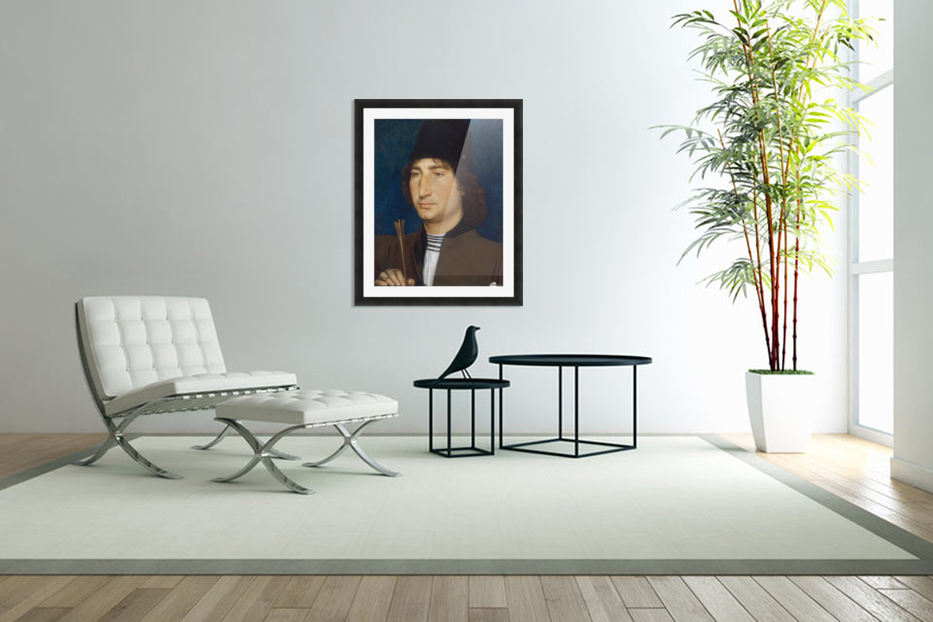 Portrait of a man with an arrow in Custom Picture Frame