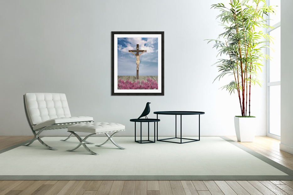Jesus on the Cross Illustration in Custom Picture Frame