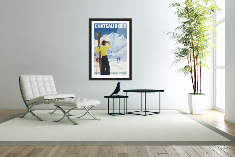 Poster for the village of Chateau dOex in the canton of Vaud in Switzerland in Custom Picture Frame