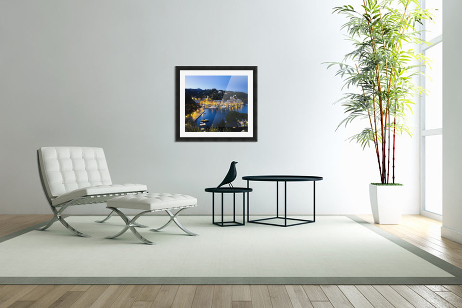 View of the harbour at dusk; Portofino, Liguria, Italy in Custom Picture Frame