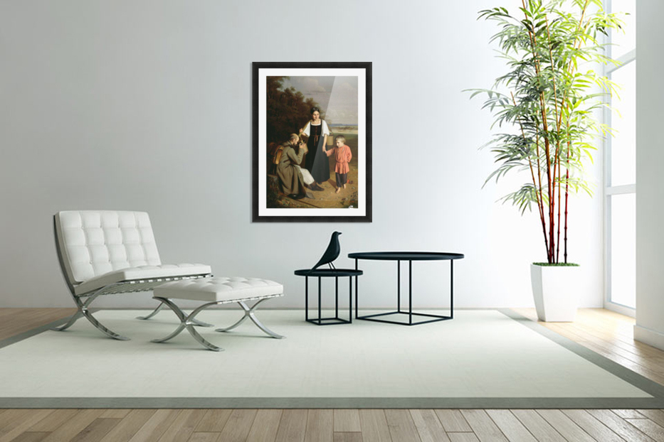 Peasant offering to a soldier a drink in Custom Picture Frame