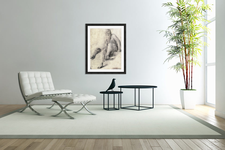 Saint Jerome Reading with the Lion in Custom Picture Frame