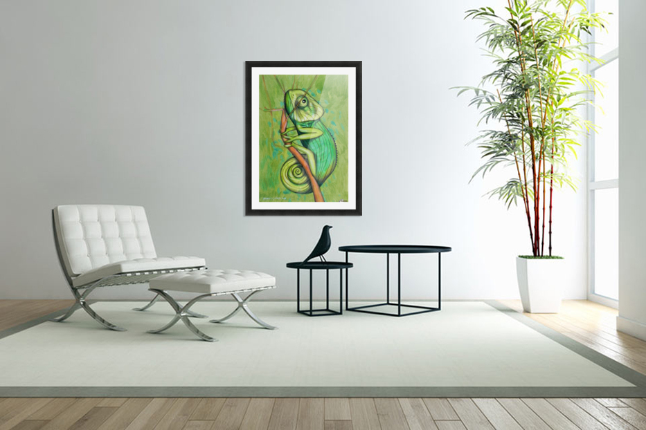 green chameleon in Custom Picture Frame