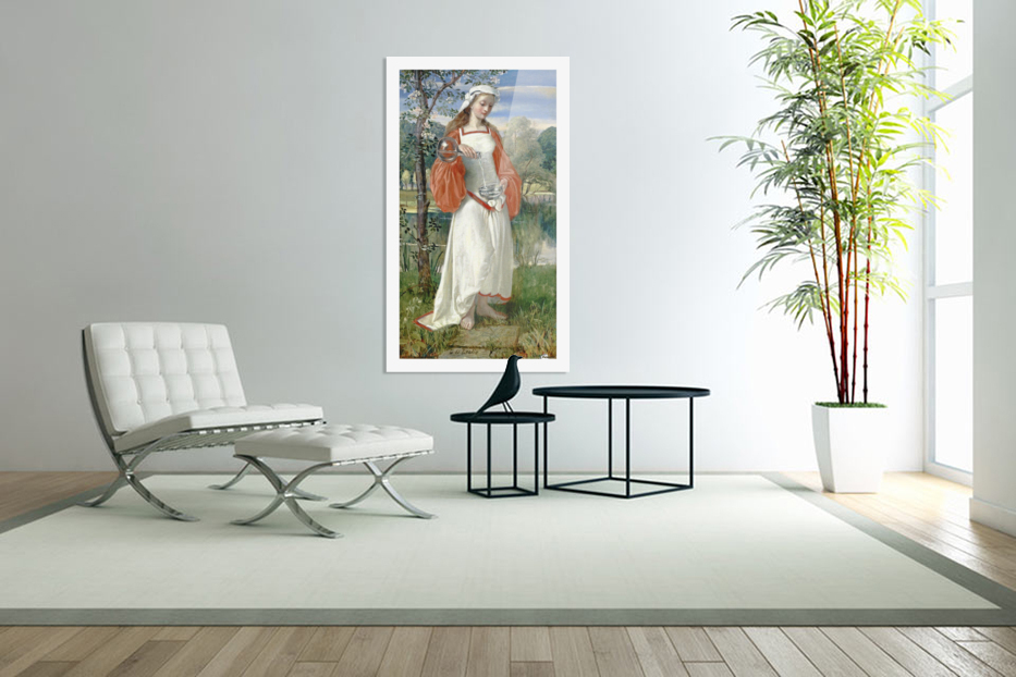Allegorical Maiden in white dress in Custom Picture Frame